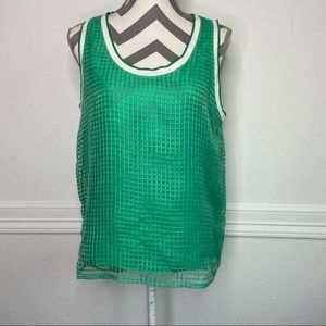 Trouve Green Sheer Layered Grid Tank Top Size M